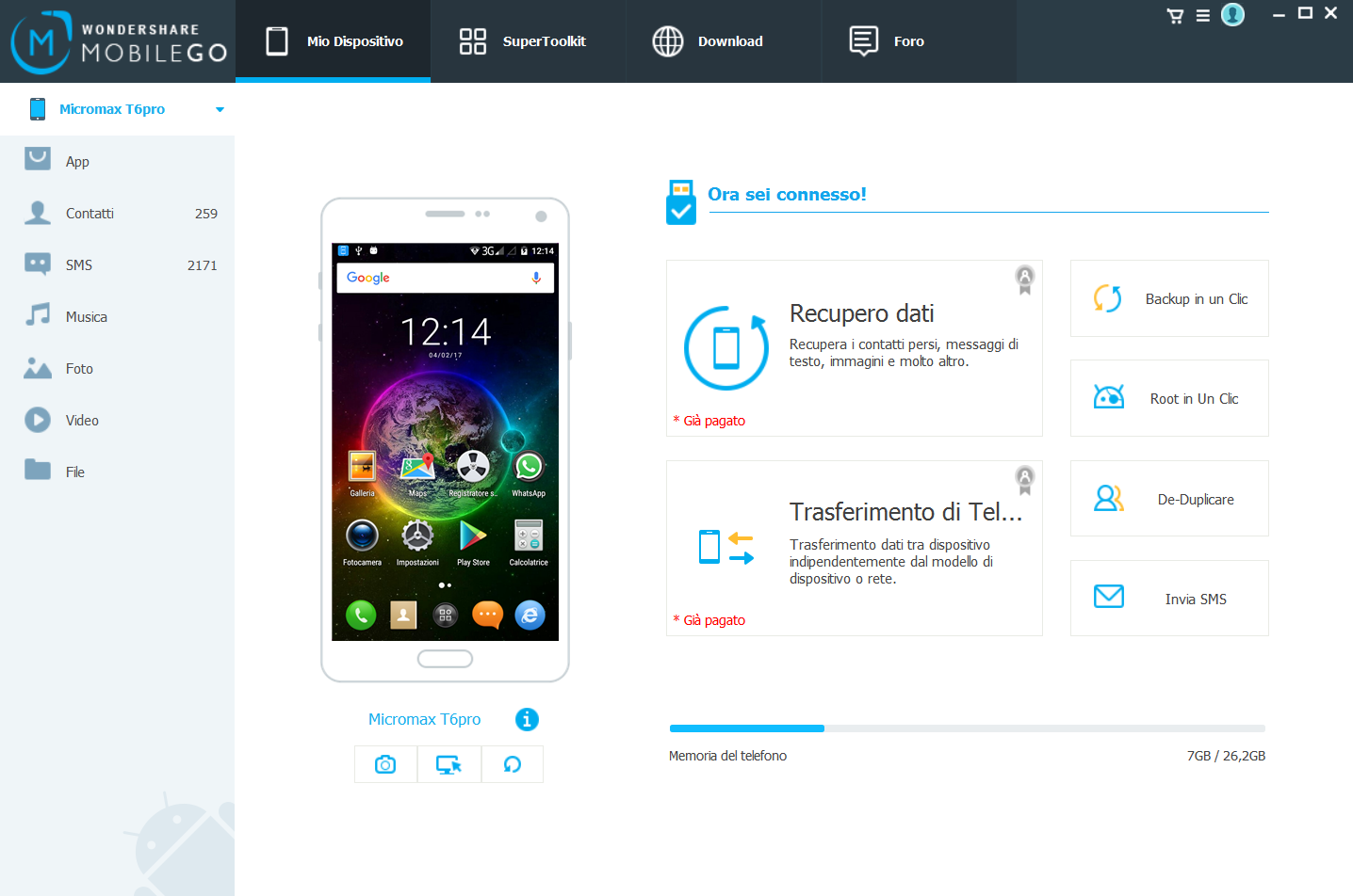 Android Manager per Galaxy S4/S5