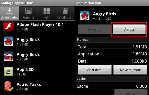 uninstall app